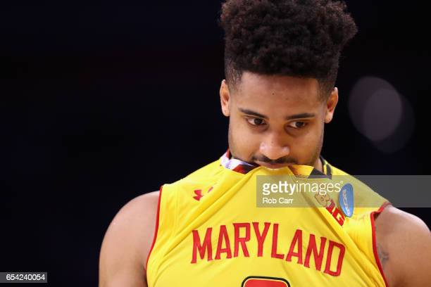 Melo Trimble of the Maryland Terrapins reacts after being defeated by the Xavier Musketeers 7665 in the first round of the 2017 NCAA Men's Basketball...