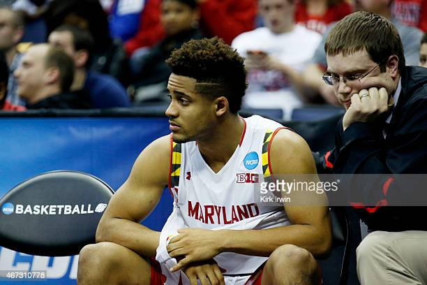 Melo Trimble of the Maryland Terrapins receives attention after being injured for a second time in the second half against the West Virginia...