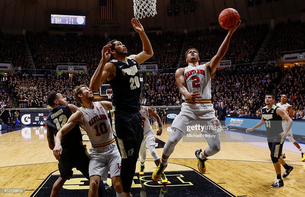 Melo Trimble #2 of the Maryland Terrapins shoots the ball against <a gi-track='captionPersonalityLinkClicked' href=/galleries/search?phrase=A.J.+Hammons&family=editorial&specificpeople=9966213 ng-click='$event.stopPropagation()'>A.J. Hammons</a> #20 of the Purdue Boilermakers at Mackey Arena on February 27, 2016 in West Lafayette, Indiana.