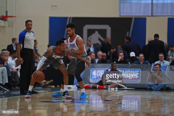 Melo Trimble plays defense against Monte Morris at the NBA Draft Combine at the Quest Multisport Center on May 11 2017 in Chicago Illinois NOTE TO...