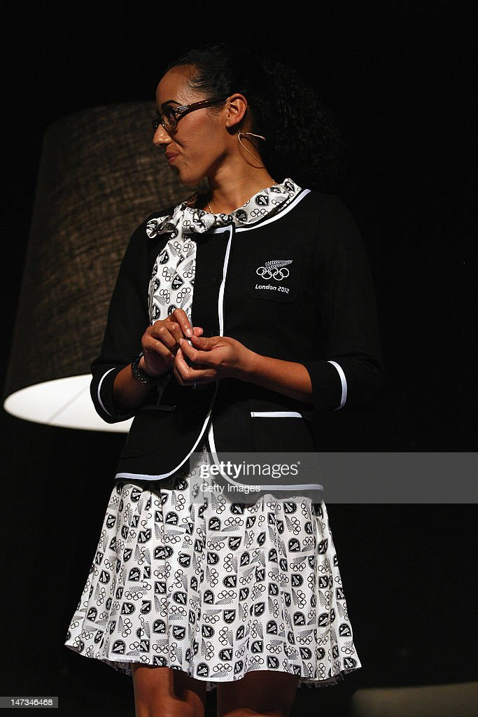 Melody Cooper is seen wearing the formal wear during the launch of the New Zealand Olympic Team uniform at the Prime Minister's Olympic Gala Dinner at the Viaduct Events centre on June 28, 2012 in Auckland, New Zealand.