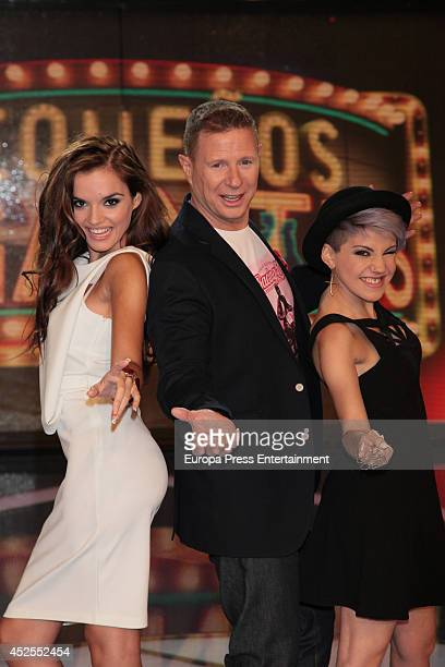 Melody Jorge Cadaval and Angy Fernandez attend 'Pequenos Gigantes' Tv programme presentation on July 22 2014 in Madrid Spain