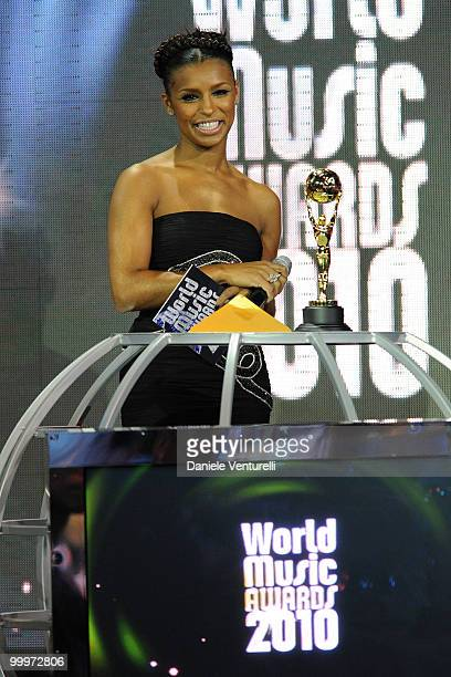 Melody Thornton of the Pussycat Dolls speaks on stage during the World Music Awards 2010 at the Sporting Club on May 18 2010 in Monte Carlo Monaco