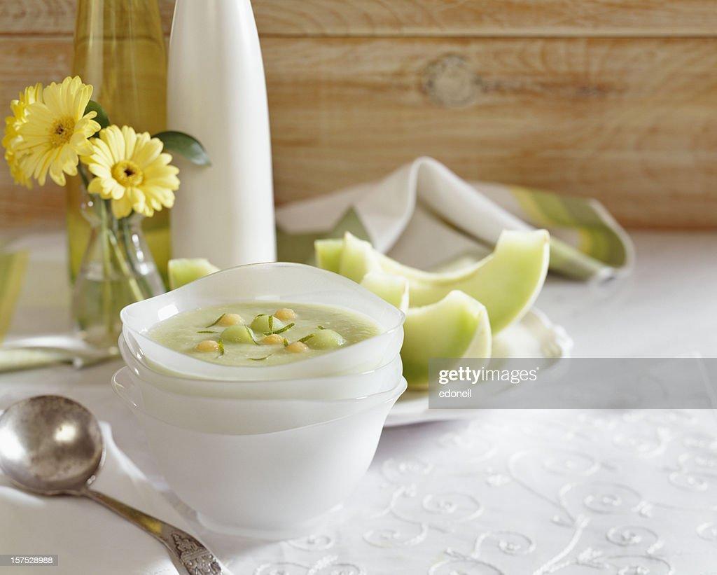 Melon Gazpacho soup : Stock Photo