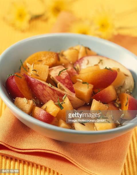 Melon, peach and apricot fruit salad