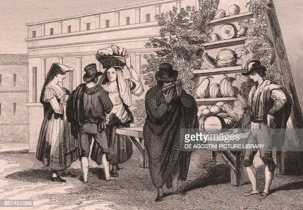 Melon seller in Naples Campania Italy steel engraving by Sauvage after a drawing by Emile Wattier ca 13x10 cm from Italie pittoresque Tableau...
