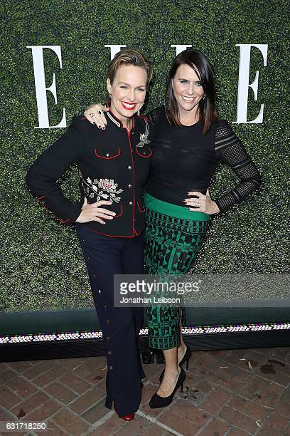 Melora Hardin and Amy Landecker attend ELLE's Annual Women In Television Celebration 2017 Red Carpet at Chateau Marmont on January 14 2017 in Los...