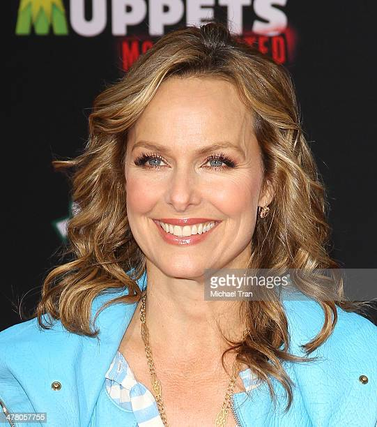 Melora Hardin arrives at the Los Angeles premiere of 'Muppets Most Wanted' held at the El Capitan Theatre on March 11 2014 in Hollywood California