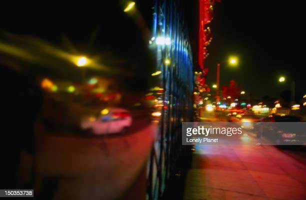 Melrose Avenue in Los Angeles at night.