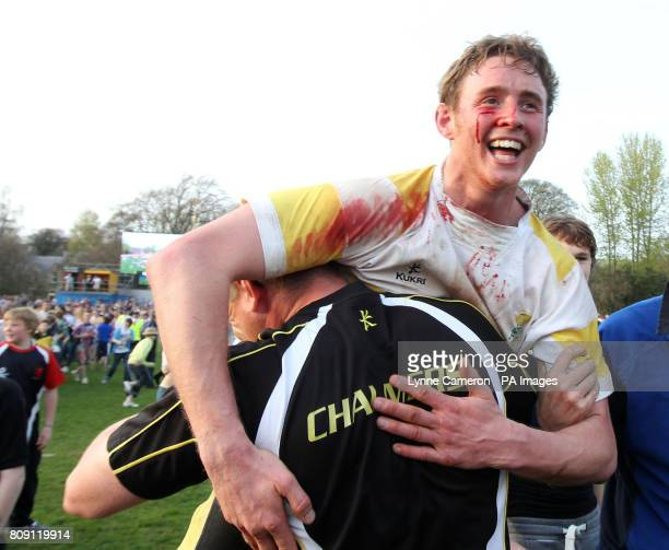 Melrose's Scott Wright with Craig Chalmers after winning the Melrose Sevens at Melrose Rugby Club Melrose