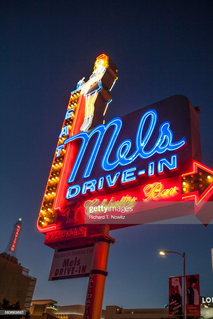 Mels Drivein Neon Sign At Night In Hollywood California stock ...