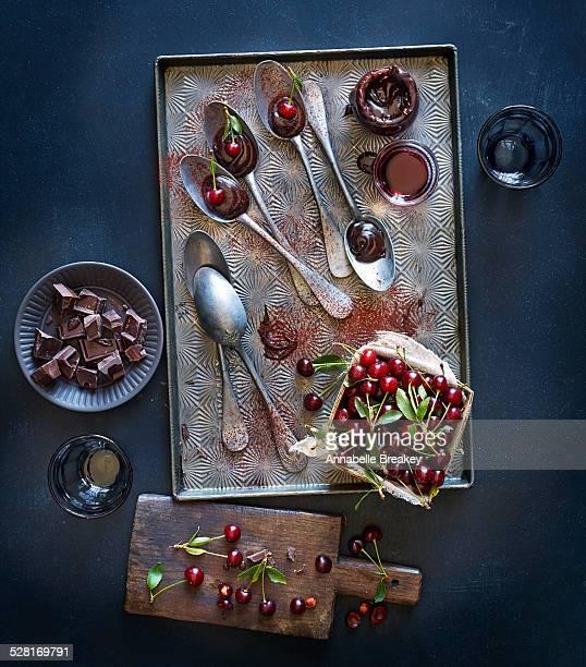 Melted Chocolate Cherry Dessert Spoons Still Life