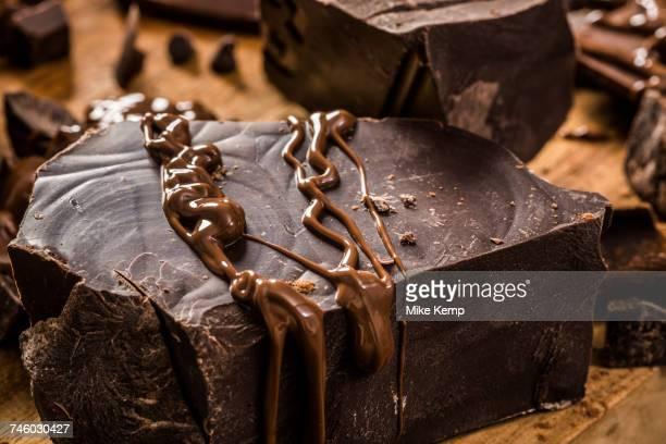 Melted chocolate on big dark chocolate chunk