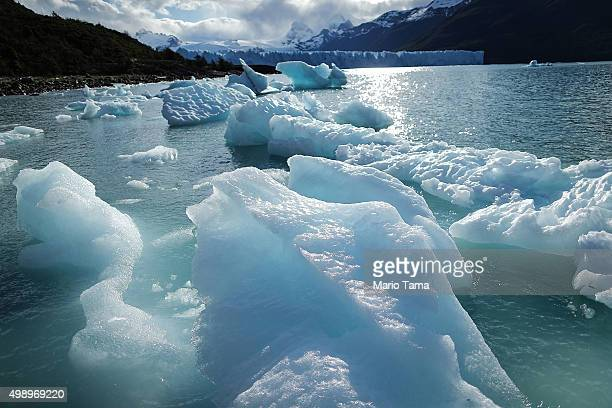 Melted glacial ice floats in front of the Perito Moreno glacier in Los Glaciares National Park part of the Southern Patagonian Ice Field the third...