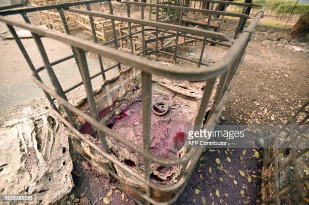 A melted wine container leaks wine into the ground at the burned remains of the Paradise Ridge Winery in Santa Rosa California on October 10 2017...