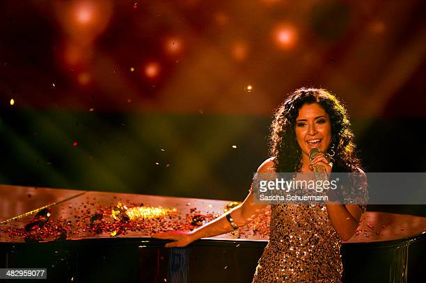 Meltem Acikgoez performs at the rehearsal for the 2nd 'Deutschland sucht den Superstar' show at Coloneum on April 5 2014 in Cologne Germany