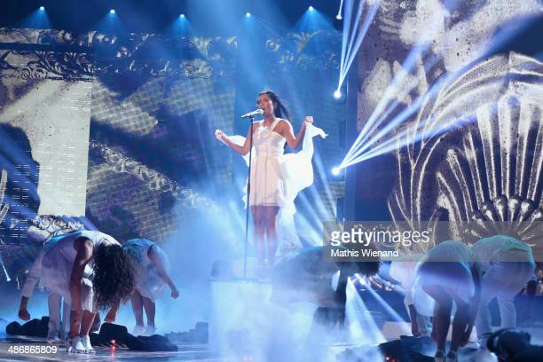 Meltem Acikgoez performs at the rehearsal for the 5th 'Deutschland sucht den Superstar' show at Coloneum on April 26 2014 in Cologne Germany