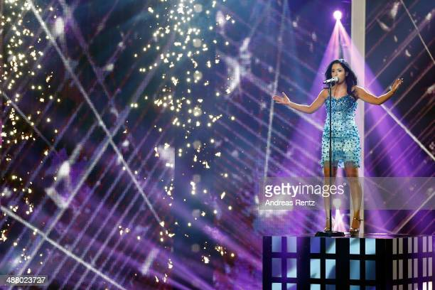 Meltem Acikgoez performs during the final of the 'Deutschland sucht den Superstar' show at Coloneum on May 3 2014 in Cologne Germany