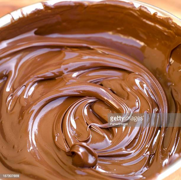 Melting Chocolate in Pan, Food Ingredient for Making Fondue