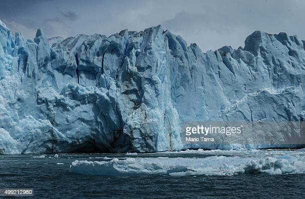 Melting glacial ice floats in front of the Northern wall of the Perito Moreno glacier in Los Glaciares National Park part of the Southern Patagonian...