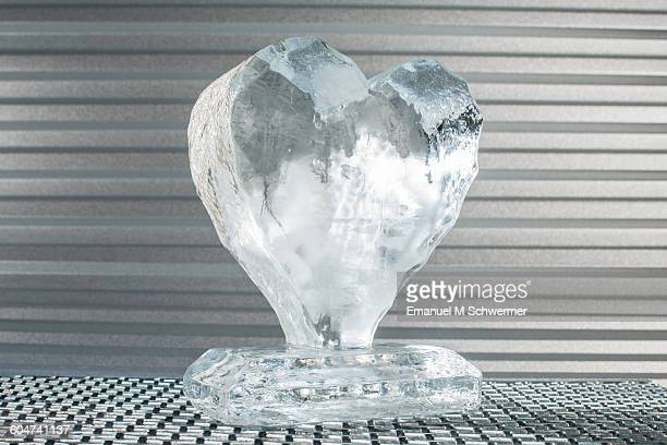 Melting heart made of ice