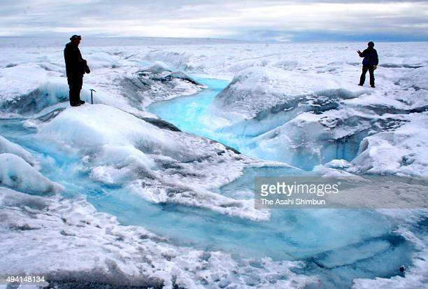 Melting ice sheet is seen near Ilulissat on August 18 2008 in Ilulissat Greenland