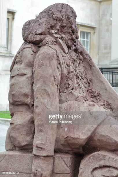 A 'melting' mud sculpture by the Belgian artist Damian Van Der Velden has been unveiled at Trafalgar Square on July 26 2017 in London England The Mud...