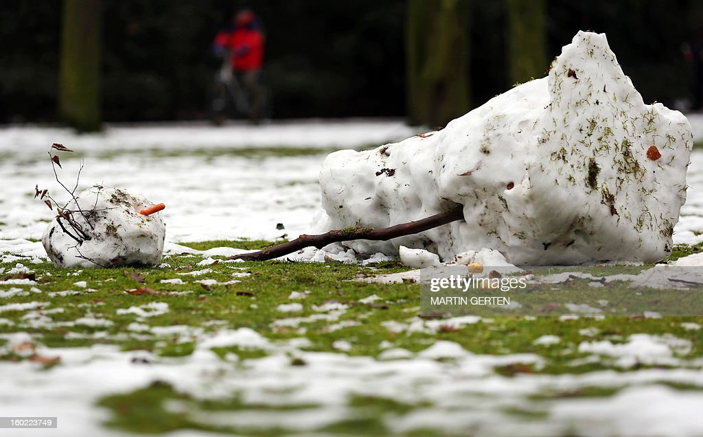 A melting snowman lays in a park in Duesseldorf, western Germany, on January 28, 2013. After days of a cold spell, temperatures rise again over the freezing point in many parts of the country.