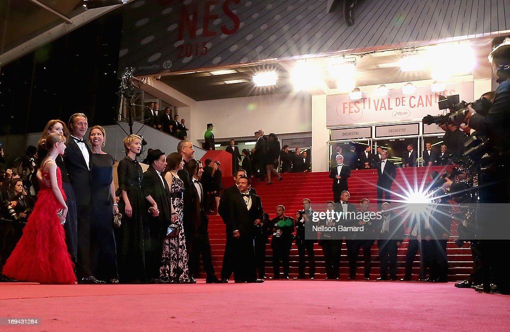 Melusine Mayance, Roxane Duran, Mads Mikkelsen, Hanne Jacobsen, Delphine Chuillot and Arnaud des Pallieres attend the 'Michael Kohlhaas' premiere during The 66th Annual Cannes Film Festival at the Palais des Festival on May 24, 2013 in Cannes, France.