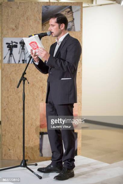 Melvil Poupaud reads 'Tombeau pour Cinq Cent Mille Soldats' for 50th anniversary of the book at Azzedine Alaia Gallery on October 19 2017 in Paris...