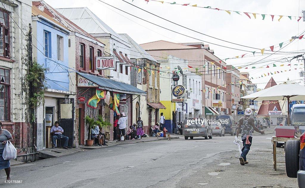 Melville Street in St. George's Grenada : Stock Photo