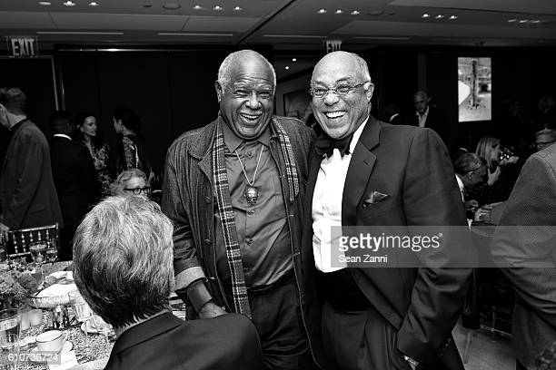Melvin Edwards and George Campbell attend Abstracted Black Tie Dinner Hosted by Pamela Joyner Fred Giuffrida and the Ogden Museum of Southern Art to...