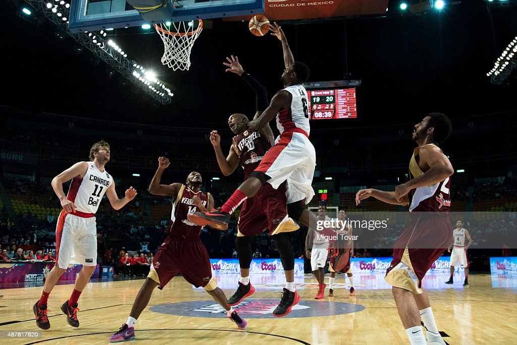 <a gi-track='captionPersonalityLinkClicked' href=/galleries/search?phrase=Melvin+Ejim&family=editorial&specificpeople=7493276 ng-click='$event.stopPropagation()'>Melvin Ejim</a> of Canada goes for the basket during a semifinals match between Canada and Venezuela as part of the 2015 FIBA Americas Championship for Men at Palacio de los Deportes on September 11, 2015 in Mexico City, Mexico.