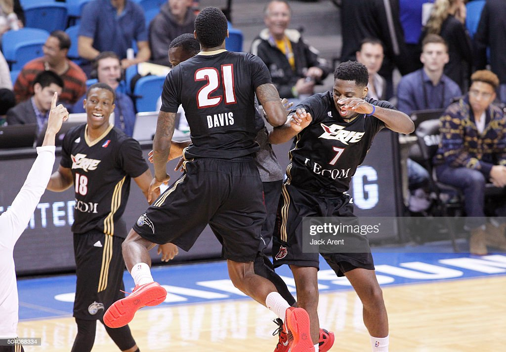 Melvin Ejim #7 of the Erie Bayhawks celebrates after making the winning basket as the buzzer sounded off against the Austin Spurs during Day Three of the 2016 NBA D-League Showcase on January 8, 2016 at the Kaiser Permanente Arena in Santa Cruz, California.