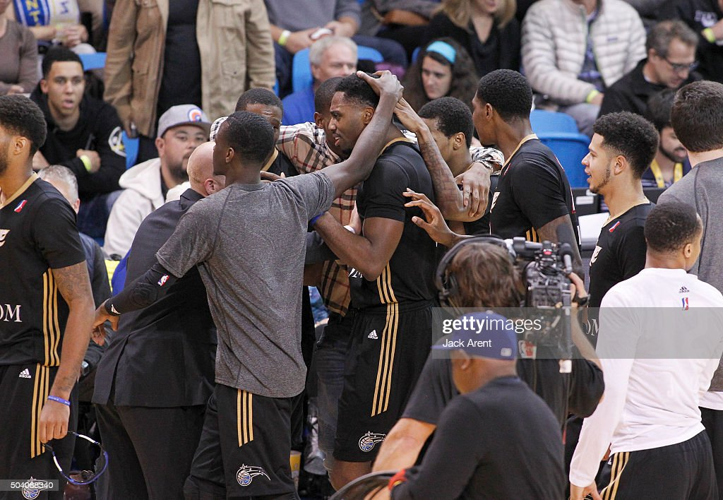 <a gi-track='captionPersonalityLinkClicked' href=/galleries/search?phrase=Melvin+Ejim&family=editorial&specificpeople=7493276 ng-click='$event.stopPropagation()'>Melvin Ejim</a> #7 of the Erie Bayhawks celebrates after making the winning basket as the buzzer sounded off against the Austin Spurs during Day Three of the 2016 NBA D-League Showcase on January 8, 2016 at the Kaiser Permanente Arena in Santa Cruz, California.