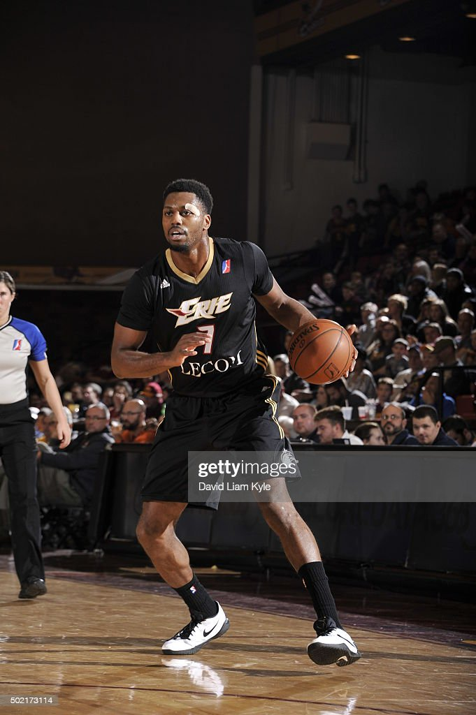 <a gi-track='captionPersonalityLinkClicked' href=/galleries/search?phrase=Melvin+Ejim&family=editorial&specificpeople=7493276 ng-click='$event.stopPropagation()'>Melvin Ejim</a> #7 of the Erie BayHawks controls the ball against the Canton Charge at the Canton Memorial Civic Center on December 19, 2015 in Canton, Ohio.