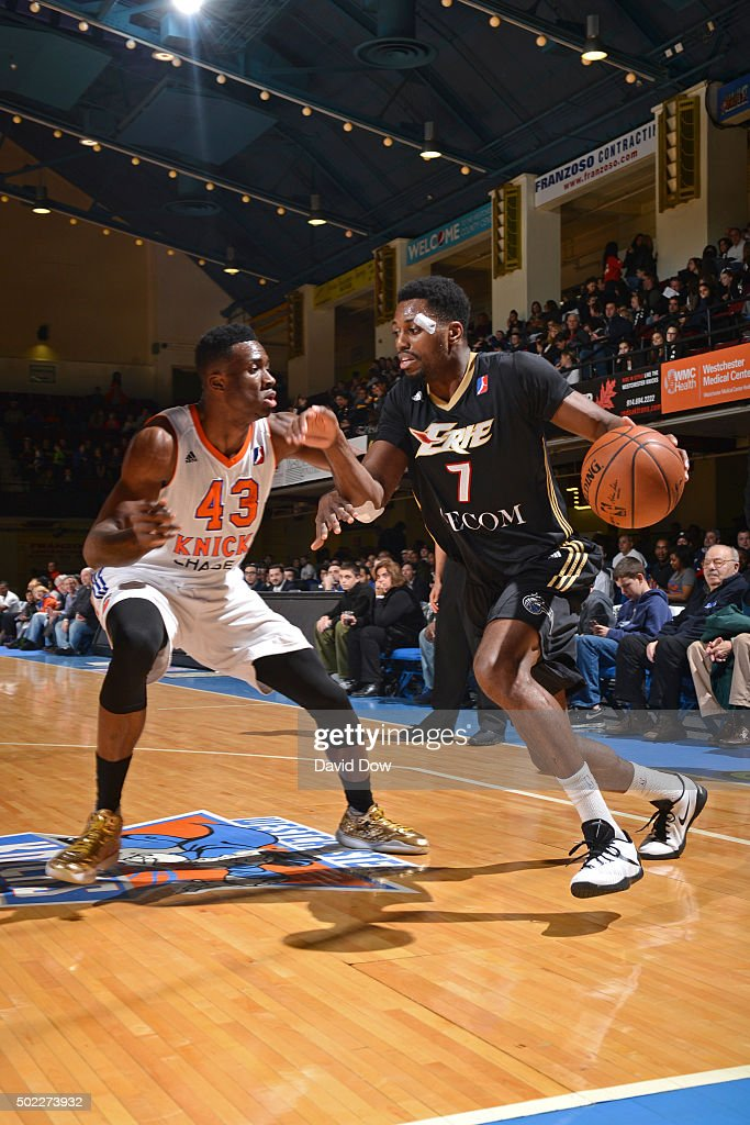 <a gi-track='captionPersonalityLinkClicked' href=/galleries/search?phrase=Melvin+Ejim&family=editorial&specificpeople=7493276 ng-click='$event.stopPropagation()'>Melvin Ejim</a> #7 of the Erie Bayhawks dribbles the ball against the Westchester Knicks at the Westchester County Center on December 21, 2015 in Westchester, New York.