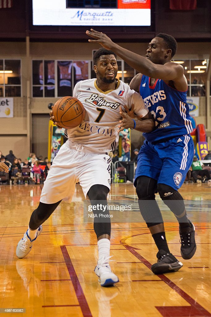Melvin Ejim #7 of the Erie BayHawks drives to the basket against the Delaware 87ers at the Erie Insurance Arena on November 20, 2015.