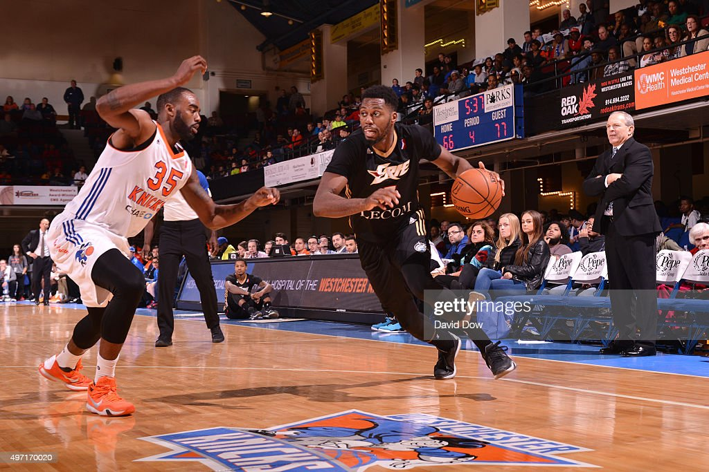 <a gi-track='captionPersonalityLinkClicked' href=/galleries/search?phrase=Melvin+Ejim&family=editorial&specificpeople=7493276 ng-click='$event.stopPropagation()'>Melvin Ejim</a> #7 of the Erie Bayhawks handles the ball during the game against the Westchester Knicks at the Westchester County Center on November 14, 2015 in Westchester, New York.
