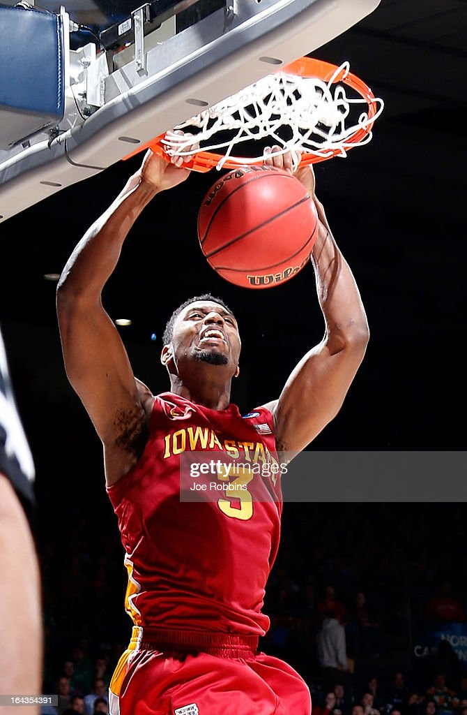 Melvin Ejim #3 of the Iowa State Cyclones dunks the ball against the Notre Dame Fighting Irish in the second half during the second round of the 2013 NCAA Men's Basketball Tournament at UD Arena on March 22, 2013 in Dayton, Ohio.