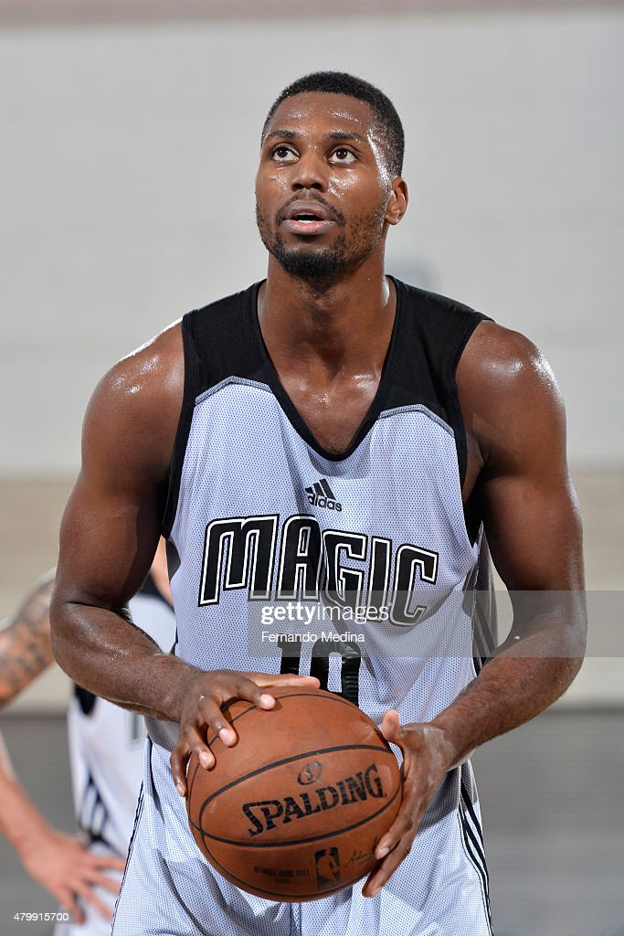 <a gi-track='captionPersonalityLinkClicked' href=/galleries/search?phrase=Melvin+Ejim&family=editorial&specificpeople=7493276 ng-click='$event.stopPropagation()'>Melvin Ejim</a> #19 of the Orlando Magic prepares to shoot a free throw against the Indiana Pacers on July 6, 2015 at Amway Center in Orlando, Florida.