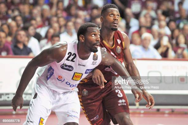 Melvin Ejim of Umana competes with Dustin Hogue of Dolomiti during the match game 2 of play off final series of LBA Legabasket of Serie A1 between...