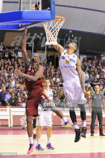 Melvin Ejim of Umana competes with Joao Gomes of Dolomiti during the match game 2 of play off final series of LBA Legabasket of Serie A1 between...