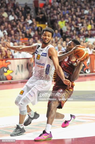 Melvin Ejim of Umana competes with Shavon Shields of Dolomiti during the match game 2 of play off final series of LBA Legabasket of Serie A1 between...