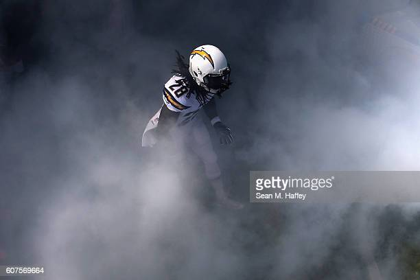 Melvin Gordon of the San Diego Chargers enters the field prior to a game against the Jacksonville Jaguars at Qualcomm Stadium on September 18 2016 in...