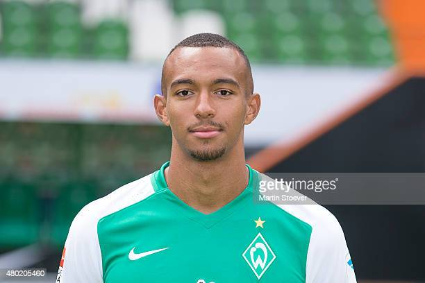 Melvin Lorenzen poses during the official team presentation of Werder Bremen at Weserstadion on July 10 2015 in Bremen Germany