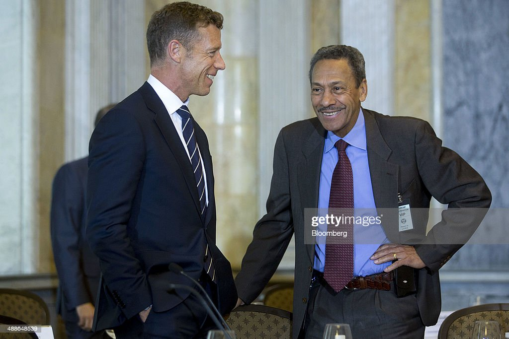 Melvin 'Mel' Watt director of the Federal Housing Finance Agency right and Michael McRaith director of the federal insurance office at the US...