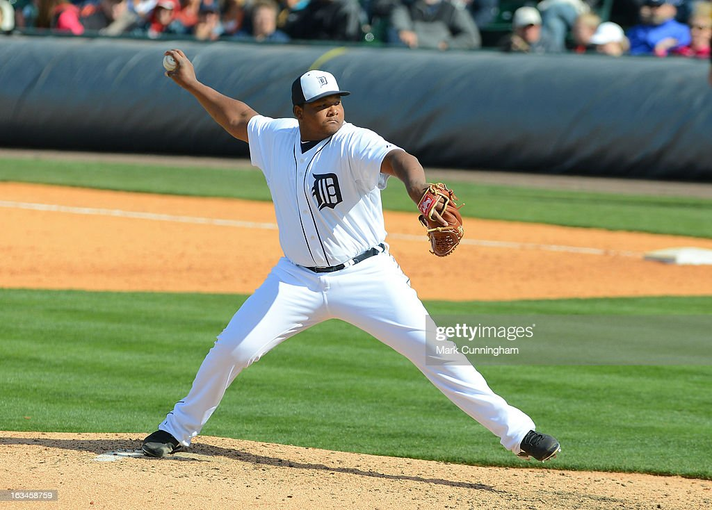 Melvin Mercedes #44 of the Detroit Tigers pitches during the spring training game against the Pittsburgh Pirates at Joker Marchant Stadium on March 2, 2013 in Lakeland, Florida. The Tigers defeated the Pirates 4-1.