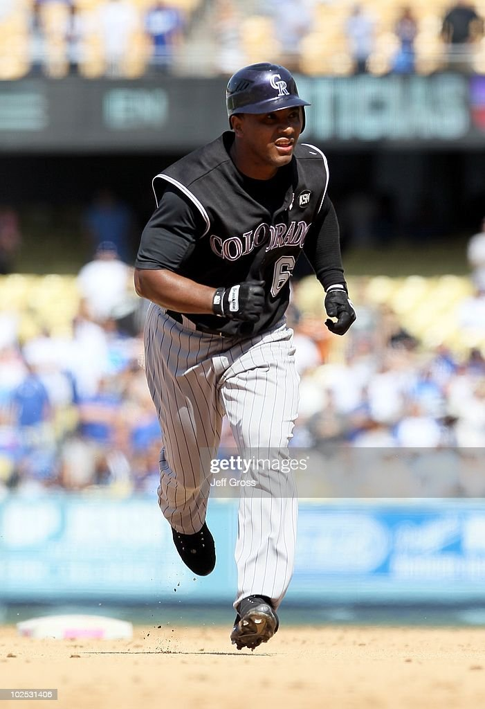 Melvin Mora #6 of the Colorado Rockies plays against the Los Angeles Dodgers at Dodger Stadium on May 9, 2010 in Los Angeles, California.