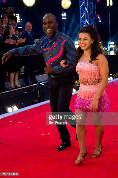 Melvin Odoom and Claudia Fragapane arrives for the launch of 'Strictly Come Dancing 2016' at Elstree Studios on August 30 2016 in Borehamwood England